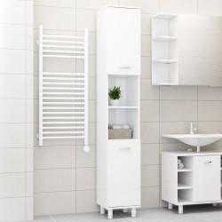 stradeXL Szafka łazienkowa, wysoki połysk, biała, 30x30x179 cm, płyta