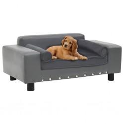 stradeXL Sofa dla psa, szara, 81x43x31 cm, plusz i sztuczna skóra