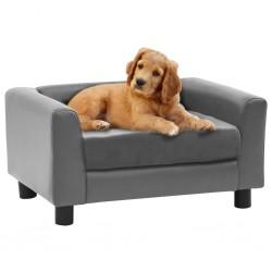stradeXL Sofa dla psa, szara, 60x43x30 cm, plusz i sztuczna skóra