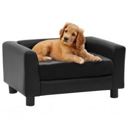 stradeXL Sofa dla psa, czarna, 60x43x30 cm, plusz i sztuczna skóra