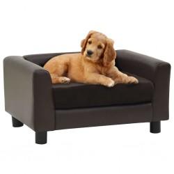 stradeXL Sofa dla psa, brązowa, 60x43x30 cm, plusz i sztuczna skóra