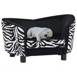 stradeXL Sofa dla psa, czarna, 68x38x38 cm, pluszowa
