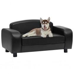 stradeXL Sofa dla psa, czarna, 80x50x40 cm, sztuczna skóra