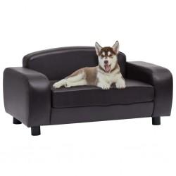 stradeXL Sofa dla psa, brązowa, 80x50x40 cm, sztuczna skóra