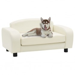 stradeXL Sofa dla psa, kremowa, 80x50x40 cm, sztuczna skóra