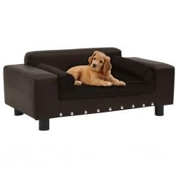stradeXL Sofa dla psa, brązowa, 81x43x31 cm, plusz i sztuczna skóra