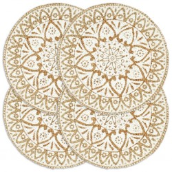 stradeXL Maty na stół, 4 szt., białe, 38 cm, okrągłe, juta