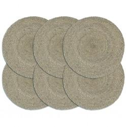 stradeXL Placemats 6 pcs Plain Grey 38 cm Round Jute