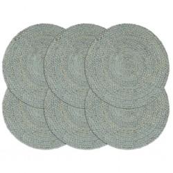 stradeXL Maty na stół, 6 szt., gładkie, oliwkowe, 38 cm, okrągłe, juta