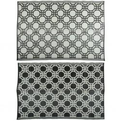 Esschert Design Dywan zewnętrzny, 174 x 121 cm, czarno-biały w kółka