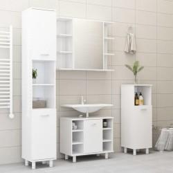 stradeXL 3-cz. zestaw mebli łazienkowych, wysoki połysk, biały, płyta