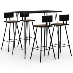stradeXL 5-częściowy zestaw mebli barowych, czarny