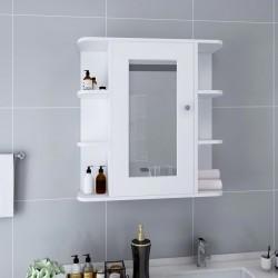 stradeXL Szafka łazienkowa z lustrem, biała, 66x17x63 cm, MDF