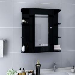 stradeXL Szafka łazienkowa z lustrem, czarna, 66x17x63 cm, MDF