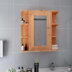 stradeXL Szafka łazienkowa z lustrem, kolor dębowy, 66x17x63 cm, MDF