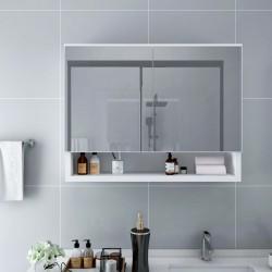 stradeXL Szafka łazienkowa z lustrem i LED, biała, 80x15x60 cm, MDF