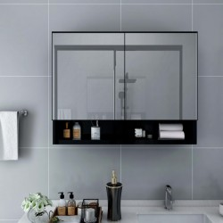 stradeXL Szafka łazienkowa z lustrem i LED, czarna, 80x15x60 cm, MDF