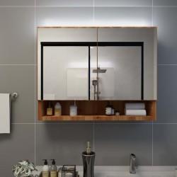 stradeXL Szafka łazienkowa z lustrem i LED, kolor dębowy 80x15x60 cm MDF