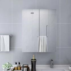 stradeXL Szafka łazienkowa z lustrem, biała, 60x15x75 cm, MDF