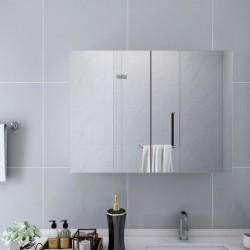 stradeXL Szafka łazienkowa z lustrem, biała, 80x15x60 cm, MDF