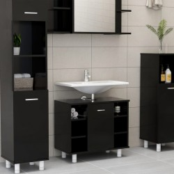 stradeXL Bathroom Cabinet Black 60x32x53.5 cm Chipboard