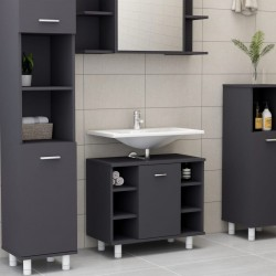 stradeXL Bathroom Cabinet Grey 60x32x53.5 cm Chipboard