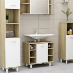 stradeXL Bathroom Cabinet White and Sonoma Oak 60x32x53.5 cm Chipboard