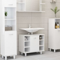 stradeXL Bathroom Cabinet High Gloss White 60x32x53.5 cm Chipboard