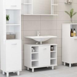 stradeXL Szafka łazienkowa, wysoki połysk, biała, 60x32x53,5 cm, płyta