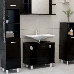 stradeXL Bathroom Cabinet High Gloss Black 60x32x53.5 cm Chipboard