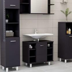 stradeXL Bathroom Cabinet High Gloss Grey 60x32x53.5 cm Chipboard