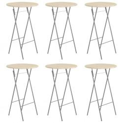 stradeXL Składane stoliki barowe, 6 szt., 60x113 cm, stal i drewno sosny