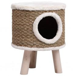 stradeXL Domek dla kota z drewnianymi nóżkami, 41 cm, trawa morska