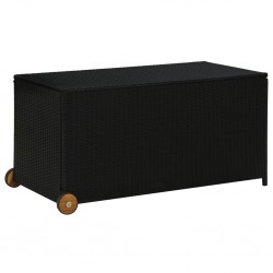 stradeXL Skrzynia ogrodowa, czarna, 120x65x61 cm, rattan PE