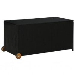 stradeXL Skrzynia ogrodowa, czarna, 130x65x115 cm, rattan PE