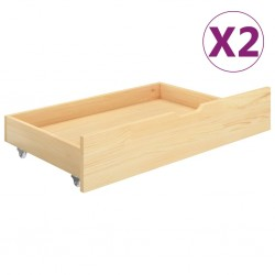 stradeXL Szuflady pod łóżko, 2 szt., lite drewno sosnowe