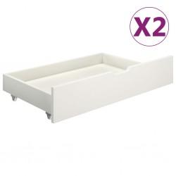 stradeXL Szuflady pod łóżko, 2 szt., białe, lite drewno sosnowe