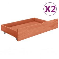 stradeXL Szuflady pod łóżko, 2 szt., miodowy brąz, lite drewno sosnowe