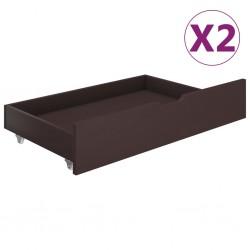 stradeXL Szuflady pod łóżko, 2 szt., ciemnobrązowe, lite drewno sosnowe
