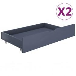 stradeXL Szuflady pod łóżko, 2 szt., jasnoszare, lite drewno sosnowe