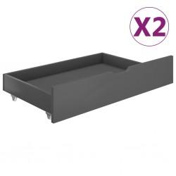 stradeXL Szuflady pod łóżko, 2 szt., ciemnoszare, lite drewno sosnowe