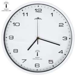 stradeXL Radio Controlled Wall Clock with Quartz Movement 31 cm White