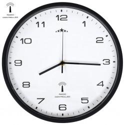 stradeXL Radio Controlled Wall Clock Quartz Movement 31 cm White & Black