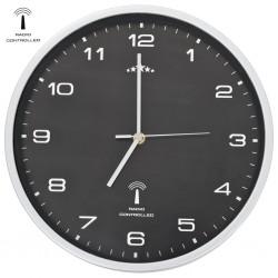 stradeXL Radio Controlled Wall Clock with Quartz Movement 31 cm Black