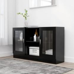 stradeXL Witryna, czarna, 120 x 30,5 x 70 cm, płyta wiórowa