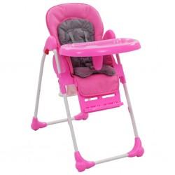 stradeXL Krzesełko do karmienia dzieci, różowo-szare