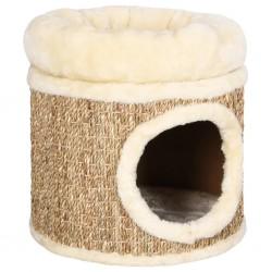stradeXL Domek dla kota z luksusową poduszką, 33 cm, trawa morska