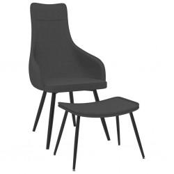 stradeXL Fotel z podnóżkiem, ciemnoszary, obity tkaniną