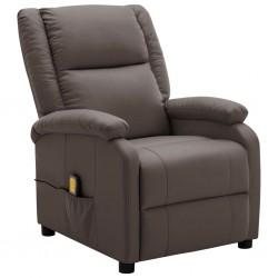 stradeXL Rozkładany fotel do masażu, brązowy, sztuczna skóra