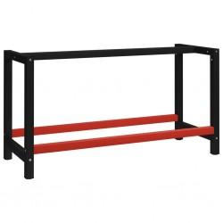 stradeXL Metalowa rama pod blat roboczy, 150x57x79 cm, czarno-czerwona